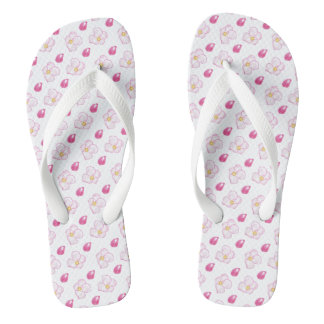 Deep Pink Apple Blossom Buds and Flowers on White Flip Flops