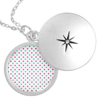 Deep Pink, Aqua, White Polka Dotted Round Locket Necklace
