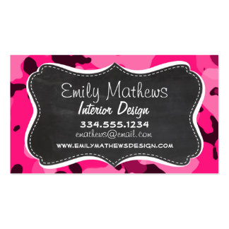 Deep Pink Camo; Chalkboard look Pack Of Standard Business Cards