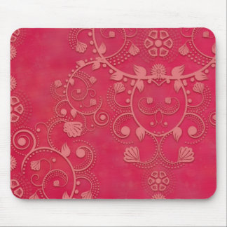 Deep Pink Floral Damask Pattern Mouse Pad