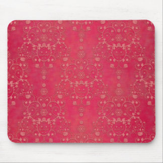 Deep Pink Floral Damask Pattern Mouse Pads