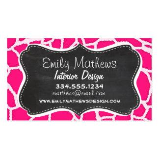 Deep Pink Giraffe Animal Print; Chalkboard Business Cards