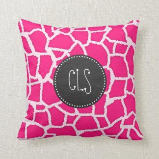 Deep Pink Giraffe Animal Print; Chalkboard Cushion