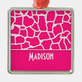 Deep Pink Giraffe Animal Print; Personalized Square Metal Christmas Ornament