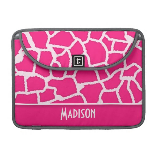 Deep Pink Giraffe Animal Print; Personalized Sleeves For MacBook Pro
