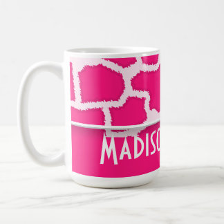 Deep Pink Giraffe Animal Print; Personalized Mug