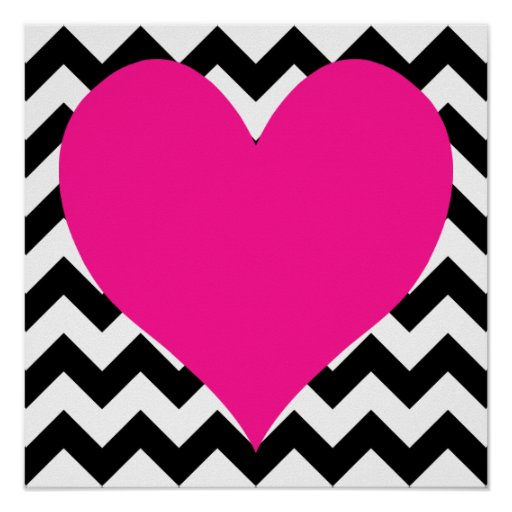 Deep Pink Heart on Black and White Zigzag