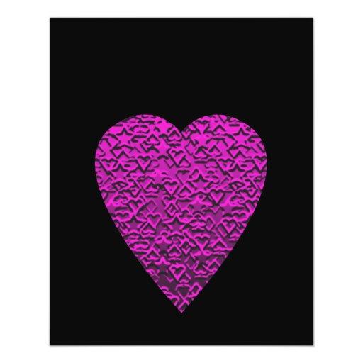 Deep Pink Heart. Patterned Heart Design. Flyers
