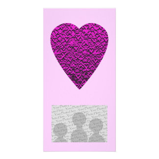 Deep Pink Heart. Patterned Heart Design. Photo Card