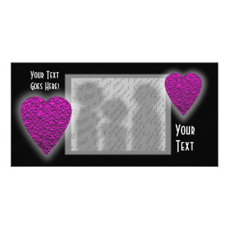 Deep Pink Heart. Patterned Heart Design. Personalized Photo Card