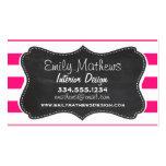 Deep Pink Horizontal Stripes; Chalkboard look Pack Of Standard Business Cards