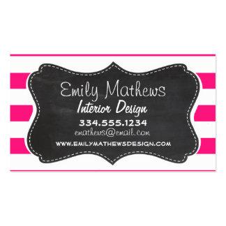 Deep Pink Horizontal Stripes; Chalkboard look Business Card Template