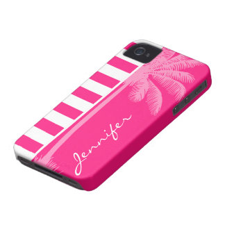 Deep Pink Horizontal Stripes Summer Palm iPhone 4 Case-Mate Case