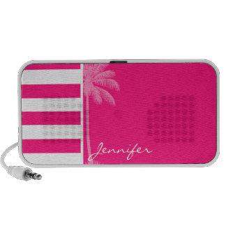 Deep Pink Horizontal Stripes; Summer Palm iPod Speakers