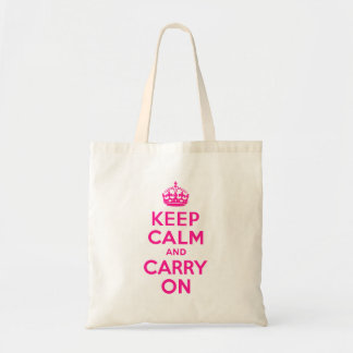 Deep Pink Keep Calm and Carry On Tote Bags