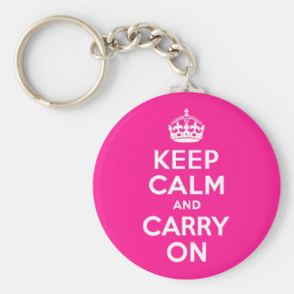 Deep Pink Keep Calm and Carry On Basic Round Button Key Ring