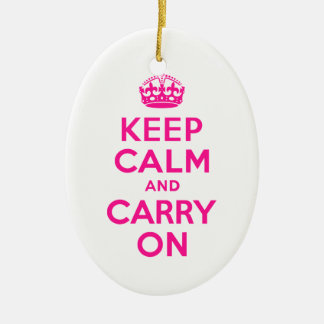 Deep Pink Keep Calm and Carry On Christmas Ornament