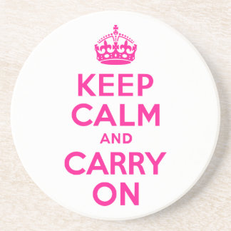 Deep Pink Keep Calm and Carry On Drink Coaster