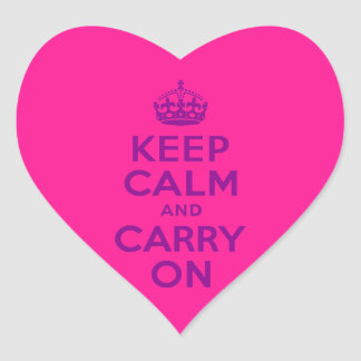 Deep Pink Keep Calm and Carry On Heart Sticker