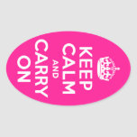 Deep Pink Keep Calm and Carry On Stickers