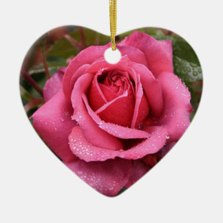 Deep Pink Morning Rose Christmas Ornament