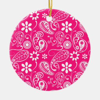 Deep Pink Paisley Double-Sided Ceramic Round Christmas Ornament