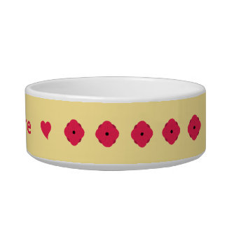 Deep pink poppies on cream personalized bowl