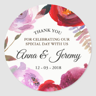 Deep pink, red and purple watercolor floral sticke classic round sticker