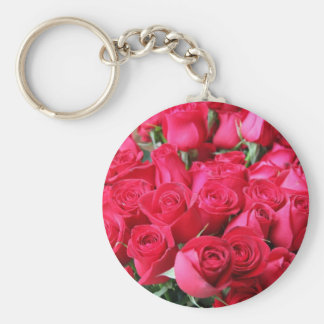 Deep Pink Rose Bouquet Basic Round Button Key Ring