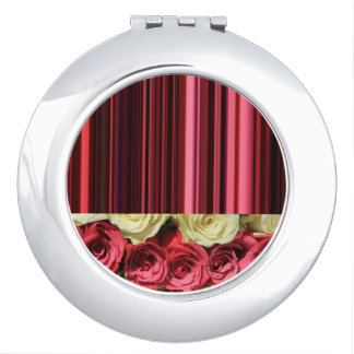 Deep pink roses & stripes by TheRoseGarden Travel Mirror