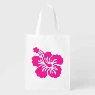 Deep Pink Tropical Hibiscus Flower Reusable Grocery Bag