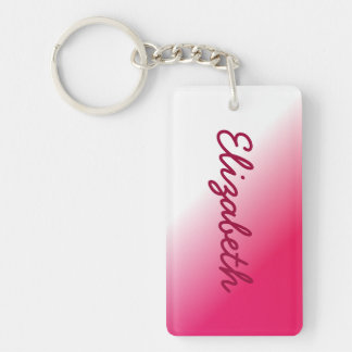 Deep Pink White Ombre Double-Sided Rectangular Acrylic Key Ring