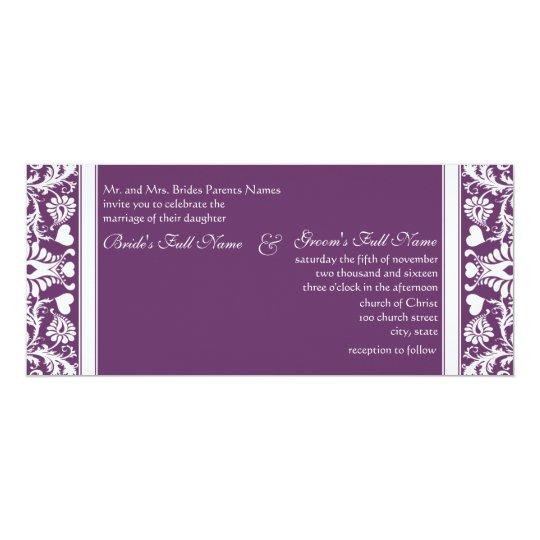 Deep Plum Damask Swirls Wedding Invitation