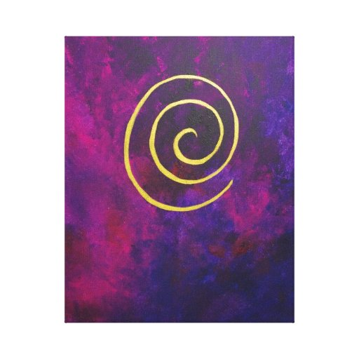 Deep Purple And Gold Modern Abstract Art Painting Gallery Wrapped Canvas