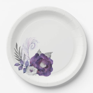 Deep Purple and Silver Floral Group With Feather Paper Plate