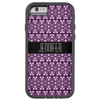 Deep Purple and White Geometric Diamond Pattern Tough Xtreme iPhone 6 Case