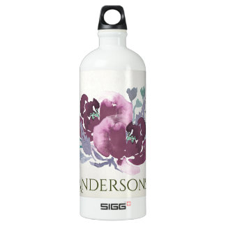 DEEP PURPLE, AQUA BLUE WATERCOLOUR FLORAL MONOGRAM SIGG TRAVELLER 1.0L WATER BOTTLE