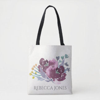 DEEP PURPLE, AQUA BLUE WATERCOLOUR FLORAL MONOGRAM TOTE BAG
