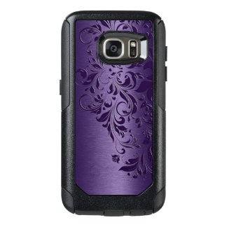 Deep Purple Background & Girly Floral Lace OtterBox Samsung Galaxy S7 Case