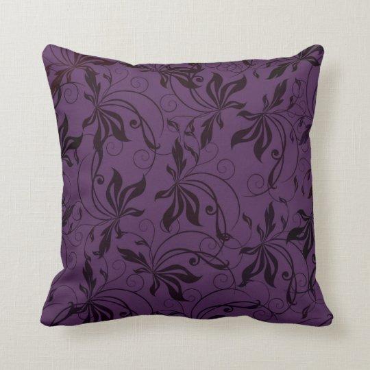 Deep Purple Black Swirl Cushion
