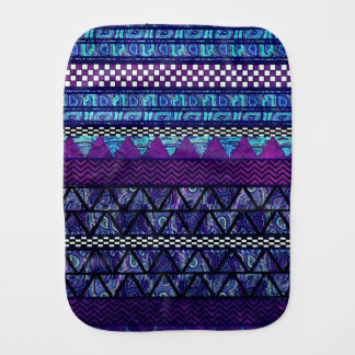 Deep Purple Blue Boho Tribal Stripes Pattern Burp Cloth