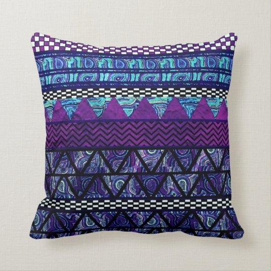 Deep Purple Boho Tribal Stripes Pattern Cushion