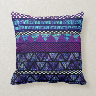 Deep Purple Boho Tribal Stripes Pattern Cushion