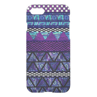 Deep Purple Boho Tribal Stripes Pattern iPhone 8/7 Case