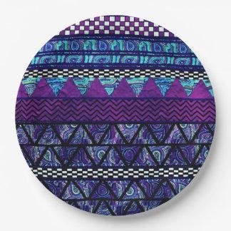 Deep Purple Boho Tribal Stripes Pattern Paper Plate