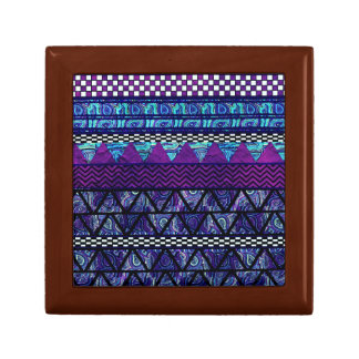 Deep Purple Boho Tribal Stripes Pattern Small Square Gift Box