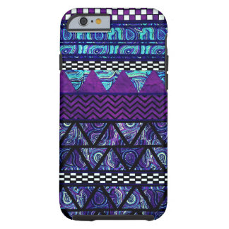 Deep Purple Boho Tribal Stripes Pattern Tough iPhone 6 Case