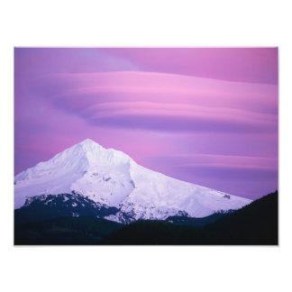 Deep purple clouds surround Mount Hood in Photo Print