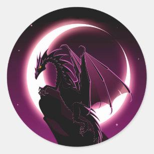 Deep Purple Dragon Round Stickers