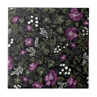 Deep Purple Floral Tiles